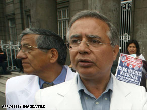 "The Medical Federation of Peru's Julio Vargas says, ""The stoppage ... will require the cooperation of all doctors."""