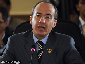 The government of Mexican President Felipe Calderon, seen here in January, is facing elections in July.