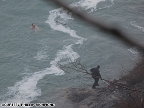 "The man was in the near-freezing water for ""40-plus"" minutes before he was rescued."