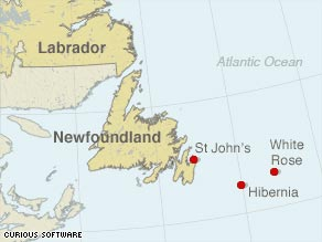 A helicopter made an emergency crash landing off Newfoundland en route to Hibernia oil field on Thursday.