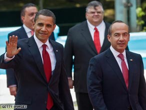 President Obama and Mexican President Felipe Calder�n in Mexico City on Thursday.