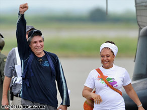 Sen. Piedad Cordoba, right, of Colombia accompanies former hostage Sigifredo Lopez in February.