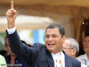 President Rafael Correa of Ecuador celebrates in Guayaquil on Sunday.