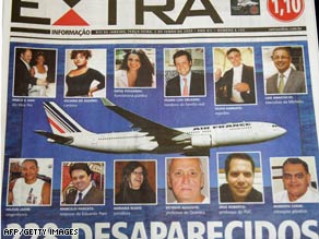 The front page of a Brazil newspaper reports on the disappearance of the plane's 228 passengers and crew.