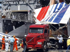 The tail fin of the Airbus A330 that crashed in the Atlantic is unloaded in Brazil earlier this month.