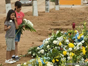 Two girls lay flowers during a funeral of one of the 48 children who died in the day-care fire.