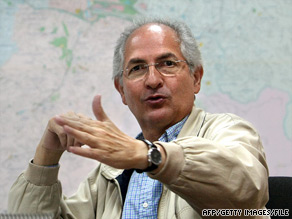 The OAS secretary general asked Caracas Mayor Antonio Ledezma (shown in February) to end his hunger strike.