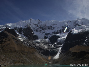 The team of 18 artists and scientists prepare to camp overnight near the Humantay Glacier Lake.
