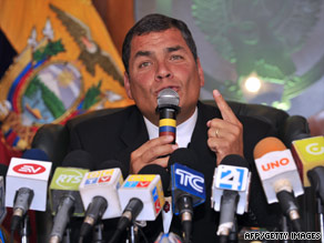 Ecuador's President Rafael Correa, as pictured in June, says a probe into FARC's claims will clear his name.