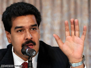 Venezuelan Foreign Minister Nicolas Maduro speaks to journalists on Monday in Caracas.