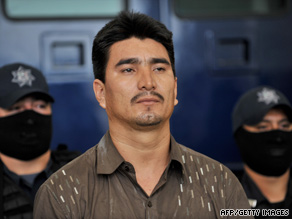 "Dimas Diaz Ramos, known as ""El Dimas,"" is presented Monday at federal police headquarters in Mexico City."