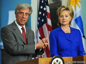 Uruguayan President Tabare Vazquez met and Secretary of State Hillary Clinton in Washington on Tuesday.