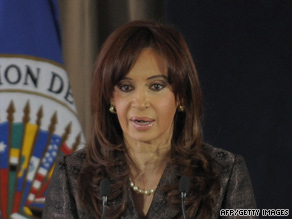 Argentine President Cristina Fernandez de Kirchner has blamed Grupo Clarin for her low approval ratings.