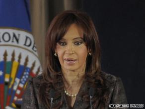Argentine President Cristina Fernandez de Kirchner has blamed Grupo Clarin for her low approval ratings.