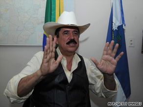 Ousted Honduran President Jose Manuel Zelaya faces reporters Thursday at Brazil's Embassy in Tegucigalpa.
