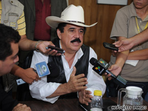 Ousted Honduran President Jose Manuel Zelaya talks to reporters Thursday at the Brazilian Embassy in Honduras.