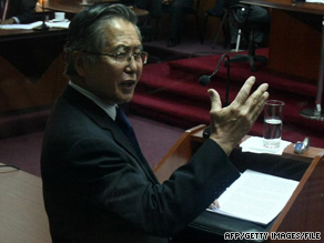 Former President Alberto Fujimori speaks in court in Lima, Peru, in April.