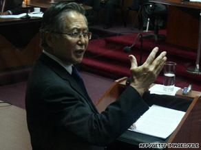 Former President Alberto Fujimori speaks in court in Lima, Peru, in April.