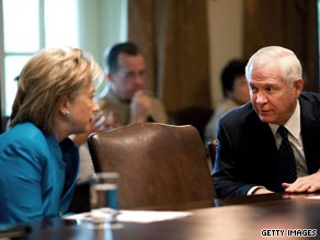 U.S. Secretary of State Hillary Rodham Clinton and U.S. Secretary of Defense Robert Gates.