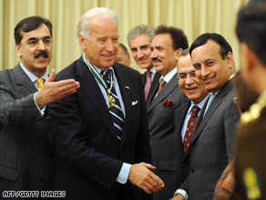 Vice President-elect Joe Biden meets Pakistani officials in Islamabad, Pakistan, on Friday.