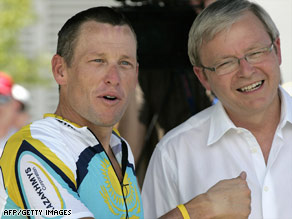 Lance Armstrong speaks with Australian Prime Minister Kevin Rudd on Tuesday in Adelaide.
