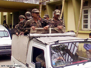 Indian Assam Rifles paramilitary soldiers on duty in the eastern state of Manipur.