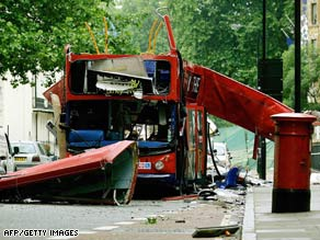 The double-decker bus damaged by a bomb in central London on July 7, 2005.