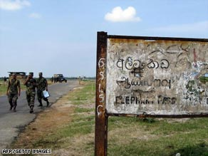 Sri Lankan troops at Elephant Pass, the isthmus that connects north Jaffna peninsula to rest of the country.
