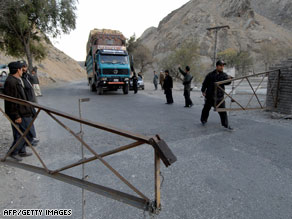 Pakistani policemen at a check point in Khyber Agency near the Pakistan-Afghanistan border, February 12, 2008.