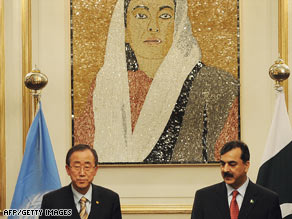 The U.N.'s Ban Ki-moon, left, visited Pakistani Premier Yousaf Raza Gilani on Wednesday in Islamabad.