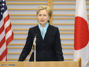 Secretary of State Hillary Clinton speaks Monday at Haneda Airport after arriving in Tokyo, Japan.