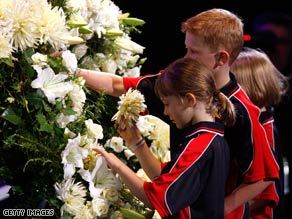 Mourners remember victims of the fires in Victoria state.