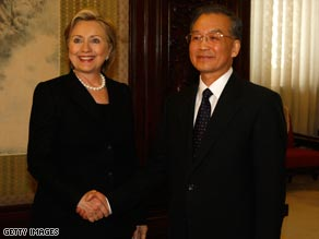 U.S. Secretary Of State Hillary Clinton meets Chinese Prime Minister Wen Jiabao in Beijing.