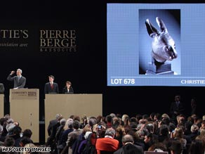 The bronze rabbit head is auctioned at Christie's.