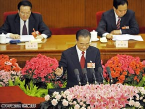 Chinese Premier Wen Jiabao delivers his work report at the National People's Congress (NPC) Thursday.