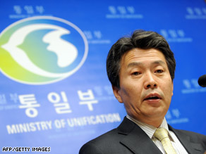 South Korean Unification Ministry spokesman Kim Ho-Nyun speaks at a briefing in Seoul on Friday.