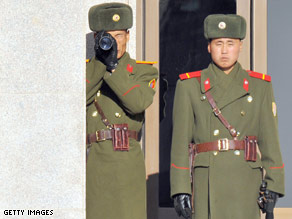 North Korean soldiers at the border village of Panmunjom on December 6, 2008.