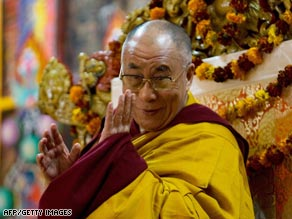 The Dalai Lama is shown speaking Monday in Dharamsala, India.