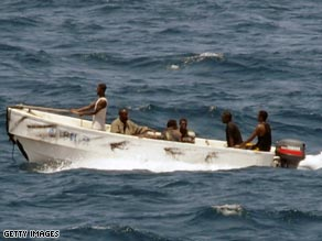 Pirates are caught on camera off the Somalian coast.