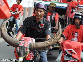 Supporters of Indonesia's Democratic Party of Struggle take part in a campaign event in Jakarta on March 24.