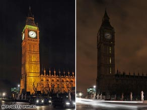 The lights go off Saturday at the Houses of Parliament and the Big Ben clock tower in central London.