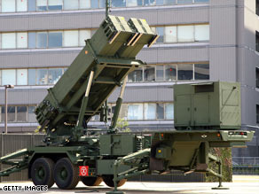 Patriot Advanced Capability-3 interceptors are located at the Ministry of Defense on March 29 in Tokyo, Japan.