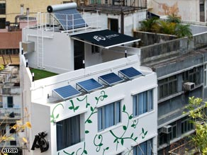 Solar in the city: Amil Khan's eco-apartment in Hong Kong's Central district is a vision of something new in the city.
