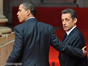 President Barack Obama and French counterpart Nicolas Sarkozy face the media in Strasbourg, France.