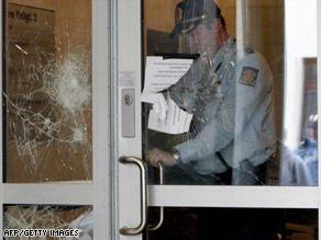 The entrance to Sri Lanka's embassy in Oslo showed damage on Sunday.