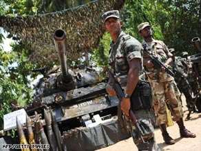 Captured rebel weapons stacked up in the former Tamil stronghold of Kilinochchi.