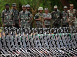 Recently captured rebel weapons stacked up in the former Tamil stronghold of Kilinochchi.
