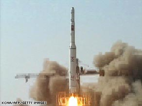 A photo released by North Korea's official Korean Central News Agency showing the recent rocket launch.
