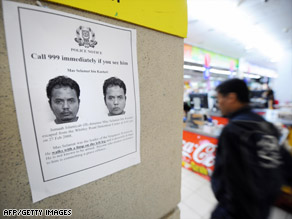 An public alert posted at a supermarket for Mas Selamat Kastari on March 1, 2008, in Singapore.