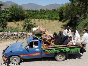 The conflict has forced thousands of Pakistani civilians to flee from their homes in the Swat Valley area.